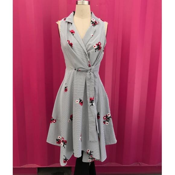 62c0c97ab9a7 Eva Franco - Cherry Blossom Stripe Dress